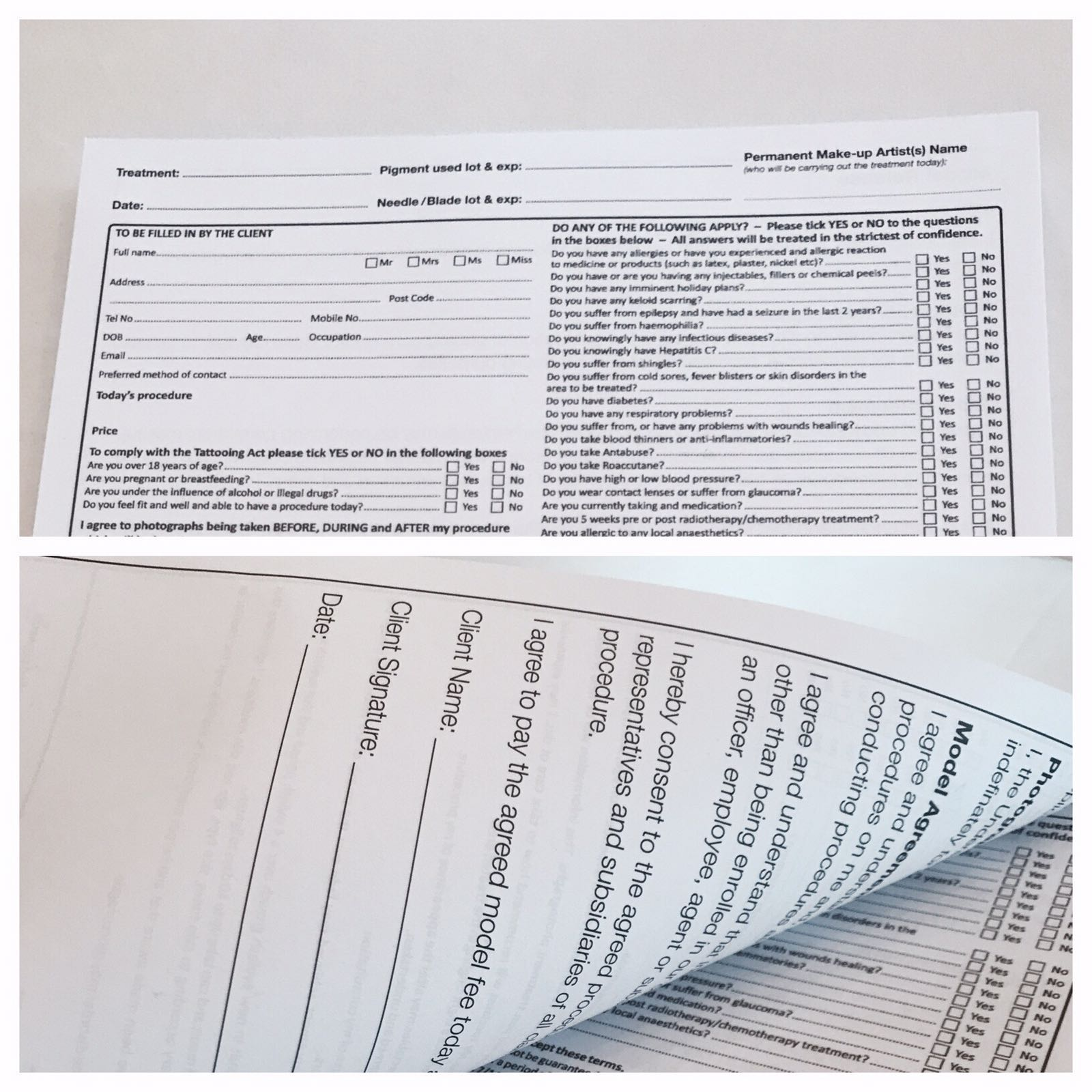 Consultation pads and Model Release forms combined (100 in a pad)